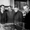 At the presentation of the monograph 'Mascherini' published by Vanni Scheiwiller, with Stelio Crise, Alfonso Mottola and the mayor Marcello Spaccini, Biblioteca del Popolo, Trieste, 1969