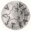 """Medaglia per il varo della m/n Australia, bronze, 50.5 mm. diameter; silver, 23 mm. diameter, both reporting the date """"19-IV-1951""""."""