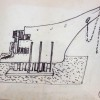 "Sketch by Mascherini for the mounting of ""Elettra"" wreck (1977)"